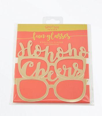 Gold Metallic Slogan Glasses New Look