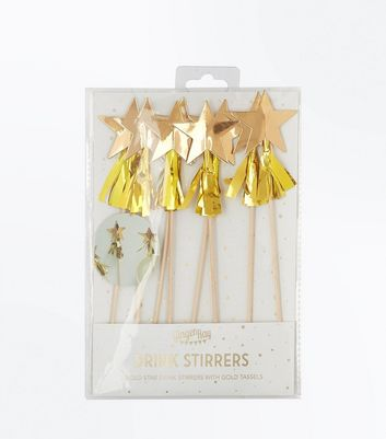 Gold Star Tassel Drink Stirrers New Look