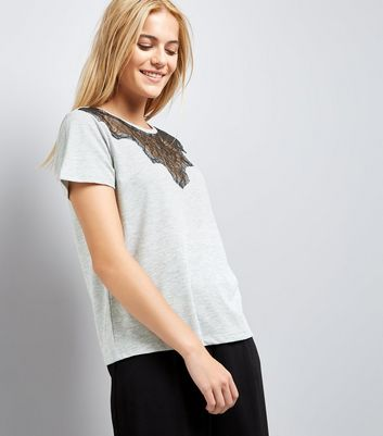 Grey Scallop Lace Yoke T-Shirt New Look