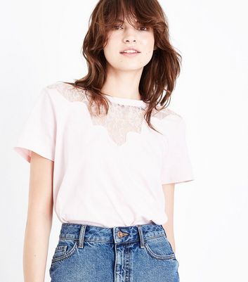 Pink Scallop Lace Yoke T-Shirt New Look