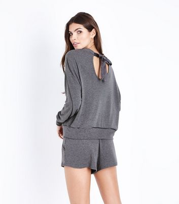 Dark Grey Satin Tie Pyjama Shorts New Look