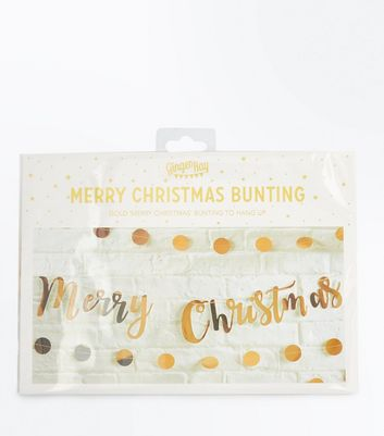 Gold Merry Christmas Bunting New Look