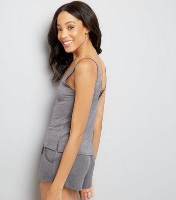 Dark Grey Lattice Front Pyjama Cami Top New Look