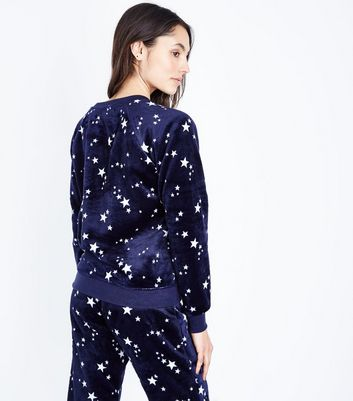 Navy Star Print Pyjama Sweatshirt New Look