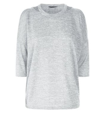 Pale Grey Fine Knit Double Cut Out Top New Look
