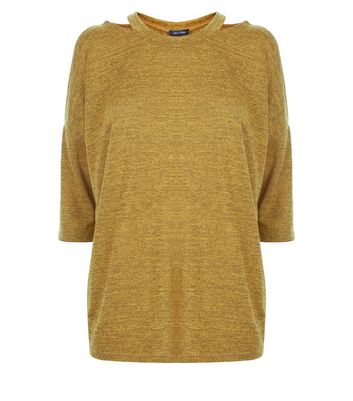 Yellow Fine Knit Double Cut Out Top New Look