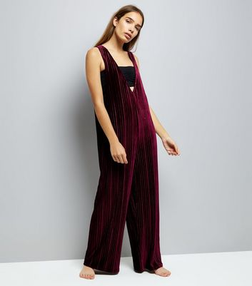 Burgundy Ribbed Velvet Pyjama Jumpsuit New Look