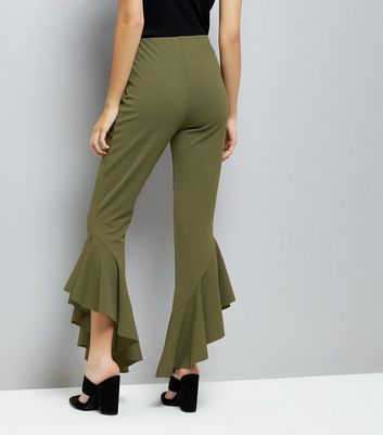 Cameo Rose Khaki Frill Hem Trousers New Look