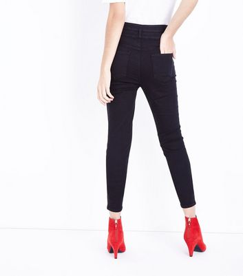 Tall Black High Waist Button Front Skinny Jeans New Look