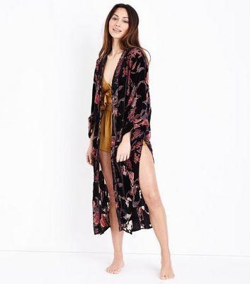 Black Floral Devore Kimono New Look