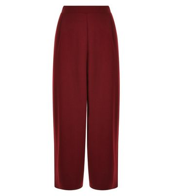 Burgundy Stretch Cropped Trousers New Look