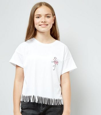 Teens White Flamingoals Cotton Tassle T-Shirt New Look