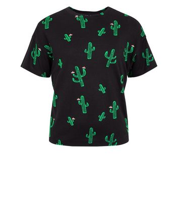 Teens Black Cactus Print T-Shirt New Look