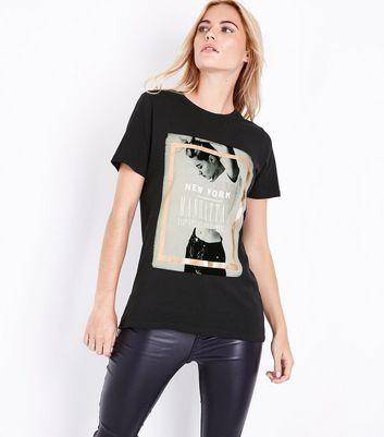 Black Metallic Foil Manhatten Photo T-Shirt New Look