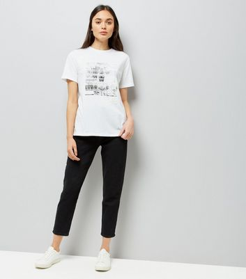 White Photographic Print Applique T-Shirt New Look