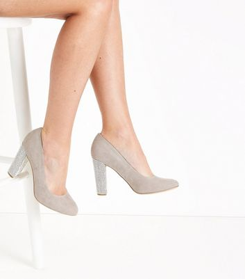 Wide Fit Grey Suedette Embellished Heel Courts New Look