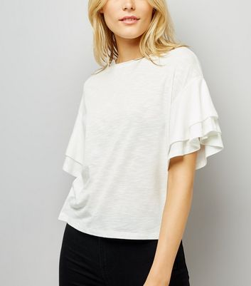 White Double Frill Sleeve T-Shirt New Look