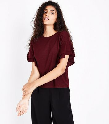 Burgundy Double Frill Sleeve T-Shirt New Look