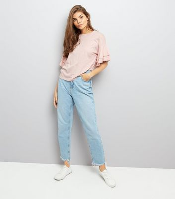 Pink Double Frill Sleeve T-Shirt New Look