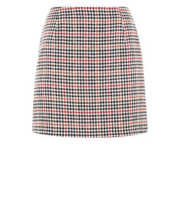 Black and Red Houndstooth Check Mini Skirt New Look