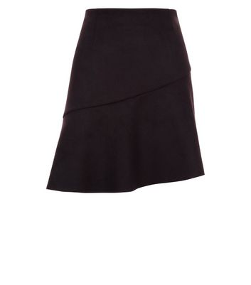 Black Suedette Asymmetric Mini Skirt New Look