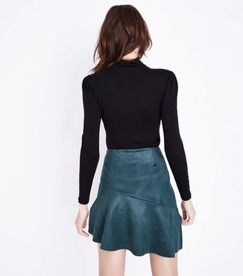 Dark Green Suedette Asymmetric Mini Skirt New Look