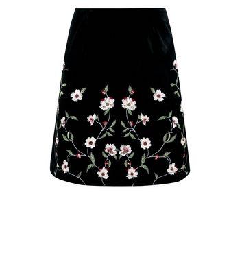 Black Floral Embroidered Velvet Mini Skirt New Look