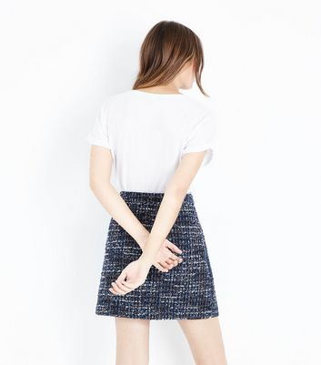 Black Boucle Check Mini Skirt New Look