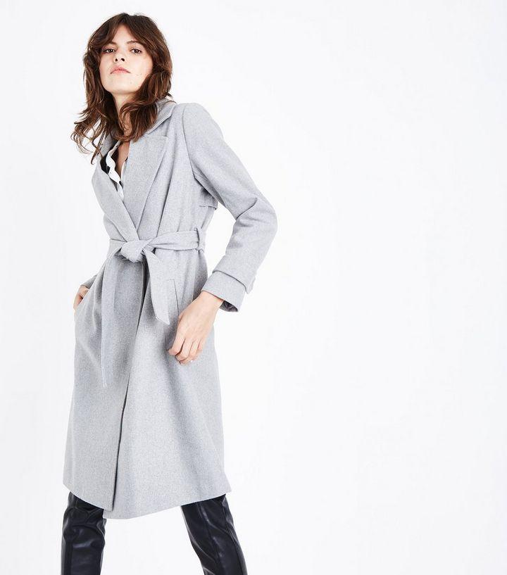 96c059e0a3cd Manteau mi-long gris pâle à ceinture   New Look