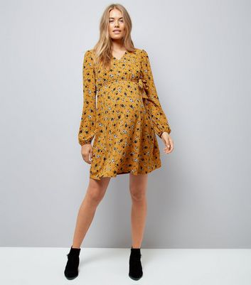 Maternity Yellow Floral Print Wrap Dress New Look