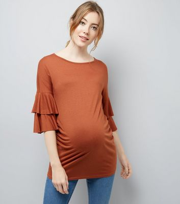 Maternity Rust Tiered Sleeve Jersey T-Shirt New Look