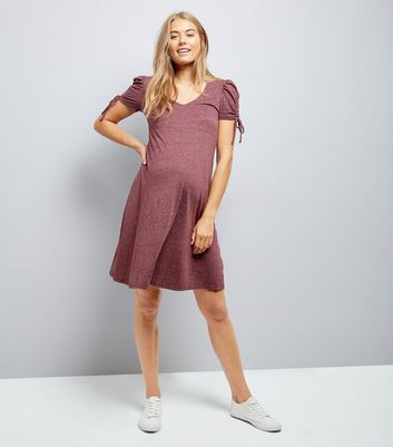Maternity Burgundy Marl Ruched Tie Sleeve Dress New Look