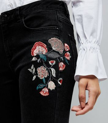 Black Floral Embroidered Skinny Jenna Jeans New Look