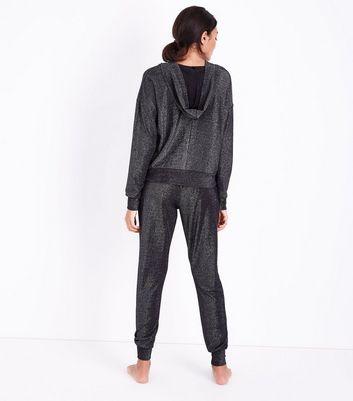 Dark Grey Glitter Lace Up Pyjama Hoodie New Look