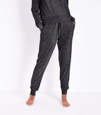 Dark Grey Glitter Pyjama Joggers New Look