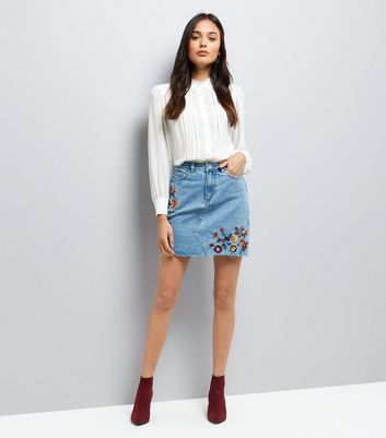Blue Floral Embroidered Denim Skirt New Look