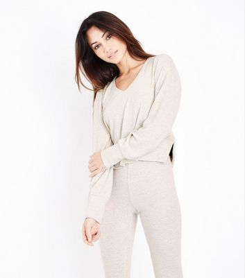 Cream Trim Pyjama Hoodie New Look