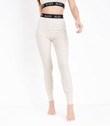 Cream Sleep Print Pyjama Leggings New Look