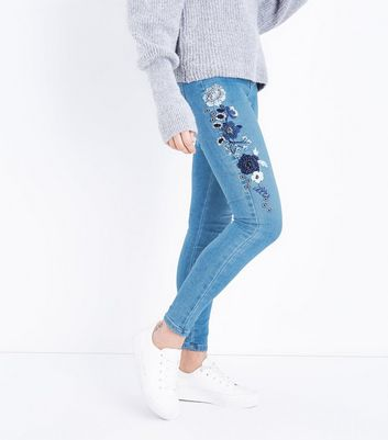 Blue Floral Beaded Skinny Jenna Jeans New Look