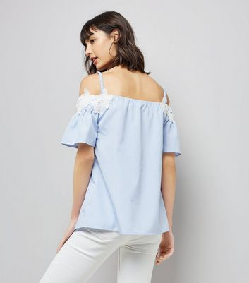 Tall Blue Stripe Crochet Trim Cold Shoulder Top New Look