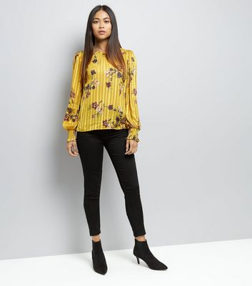 Petite Yellow Satin Floral Print Top New Look