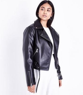 Petite Black Leather-Look Biker Jacket New Look