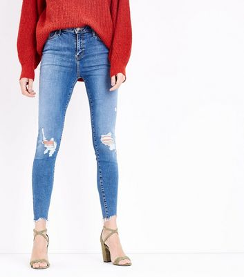 Blue Ripped Knee Raw Hem Skinny Shaper Jeans New Look