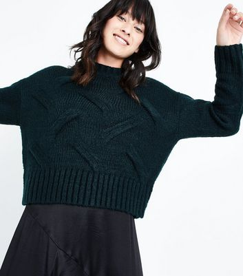 Dark Green High Neck Cable Knit Jumper New Look