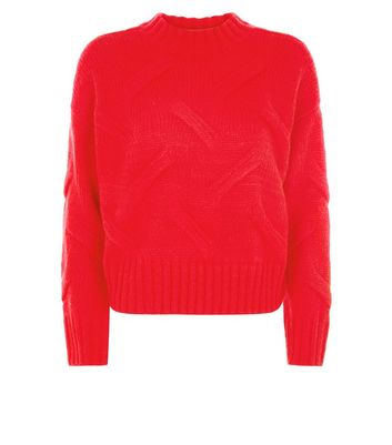 Red High Neck Cable Knit Jumper New Look