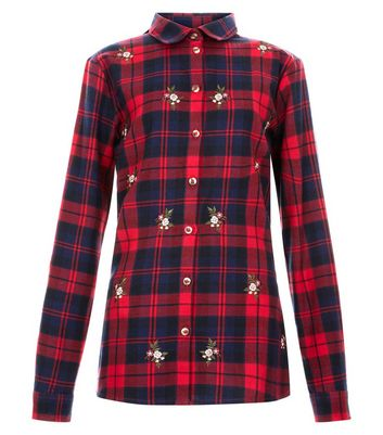 Teens Red Check Floral Embroidered Shirt New Look