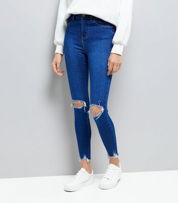 Bright Blue Ripped Distressed Hem Skinny Hallie Jeans New Look
