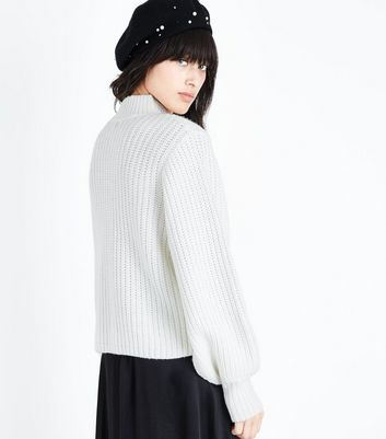 Off White Chunky Knit Balloon Sleeve Jumper New Look