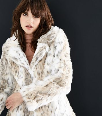 White Animal Print Faux Fur Coat New Look