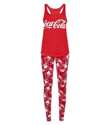 Red Coca Cola Christmas Pyjama Set New Look